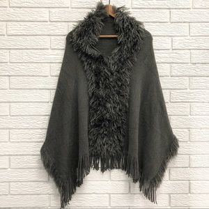 Beautiful Dark Grey Poncho Cape w/ Fluff Detail